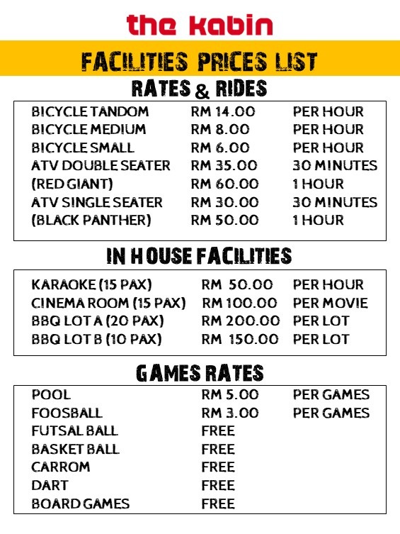 Facilities Prices list